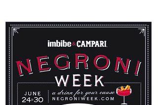 Campari celebra el centenario del Negroni aunado a la revista Imbibe por una buena causa durante el Negroni Week 2019