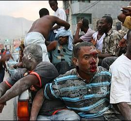 Heridos en el terremoto de Haití.