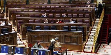 Los escaños vacíos del Congreso de los Diputados.