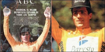 Miguel Indurain con la publicidad de Banesto y sin ella