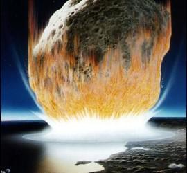 El impacto de un meteorito sobre la Tierra.