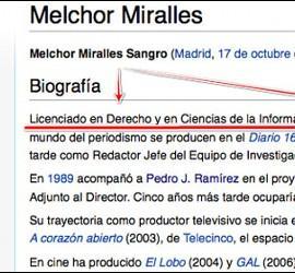 Entrada en Wikipedia de Melchor Miralles donde se asegura que posee dos carreras universitaria cuando en realidad no tiene título alguno.