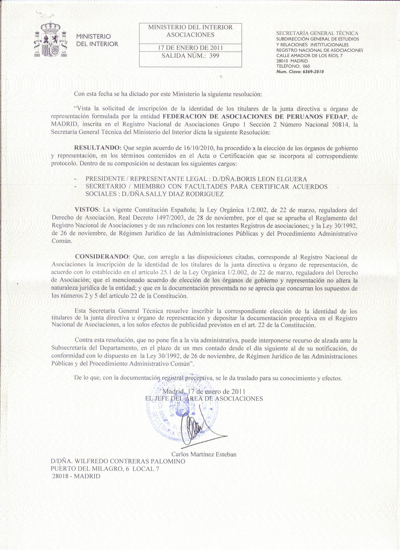 Ministerio del interior reconoce validez de las elecciones for Elecciones ministerio del interior resultados