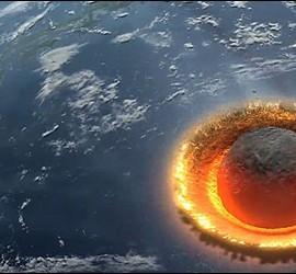 El impacto de un meteorito contra la Tierra.
