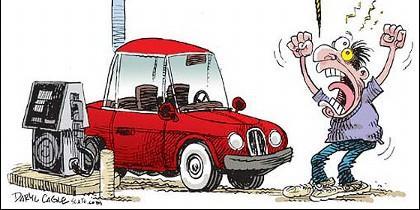 Los precios de los carburantes, el coche la gasolina y el gasoil.
