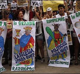 Los indignados del movimiento 15-M.