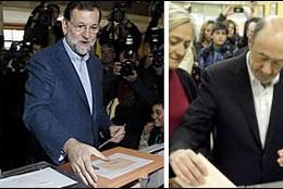 Rajoy y Rubalcaba depositan sus votos, 20 noviembre 2011.