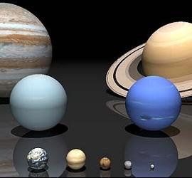 Los tamaños de los planetas del Sistema Solar.