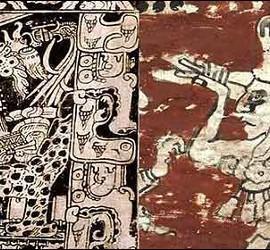Las inscripciones y dibujos mayas.