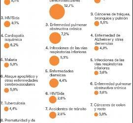 Las principales enfermedades que causan la muerte en el mundo.