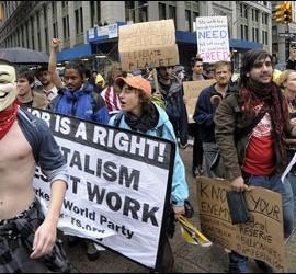 Manifestación de los 'indignados' en Wall Street.