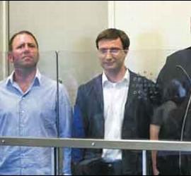 Bram van der Kolk, Finn Batato, Mathias Ortmann y Kim Schmitz, el fundador de Megaupload.
