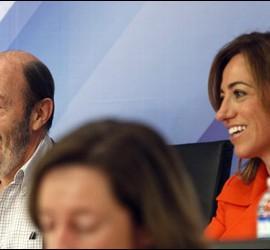 Rubalcaba y Chacón, en la última reunión del comité federal del PSOE.
