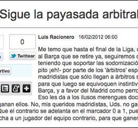 Captura del artículo de Luis Racionero en Mundo Deportivo