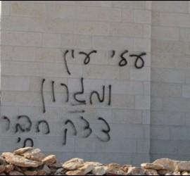Pintadas en el muro de la iglesia baptista de Jerusalén