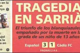 Captura de la portada de Mundo Deportivo tras la tragedia