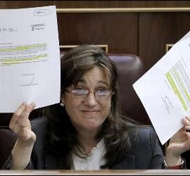 La portavoz del Grupo Socialista del Congreso, Soraya Rodríguez, durante la sesión de control al Ejecutivo en la cámara.