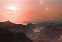 Impresión artística de un atardecer en la supertierra Gliese 667 Cc.