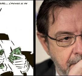 Captura de la viñeta de 'El Roto' del miércoles 25 de abril de 2012 y Juan Luis Cebrián.