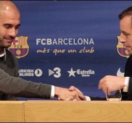 Sandro Rosell se despide de Pep Guardiola en su adiós como entrenador del Barça.