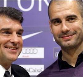 Joan Laporta y Pep Guardiola.