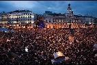 Los indignados del 15-M en la Puerta del Sol.