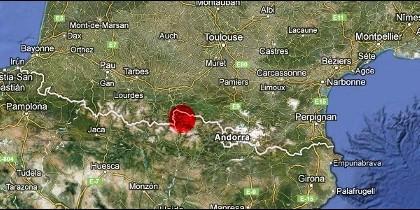 En rojo, el Valle de Arán.