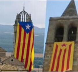 Esteladas en los campanarios de iglesias catalanas