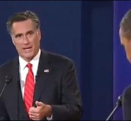 Captura de YouTube del debate electoral entre Romney y Obama.
