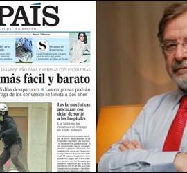 Portada de 11 de febrero de 2012 de El País y Juan Luis Cebrián.