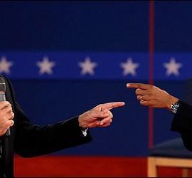 Mitt Romney con Barack Obama.