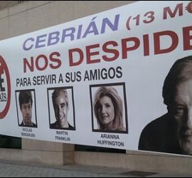 Pancarta contra Cebrián de los trabajadores de El País.