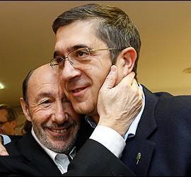 Alfredo Pérez Rubalcaba con Patxi López.