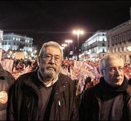 Méndez y Toxo, a las 12 de la noche en la Puerta del Sol.