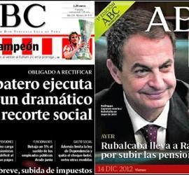 Portada de ABC de mayo de 2010 y del 14-12-2012.