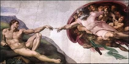 El dedo de Dios Padre dando vida a Adán en la Capilla Sixtina.
