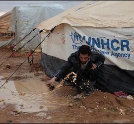 Campo de refugiados de Zaatari inundado por las lluvias