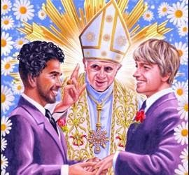 Cartel del anuncio del papa casando a dos gays