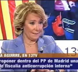 Esperanza Aguirre durante la entrevista en 13TV.