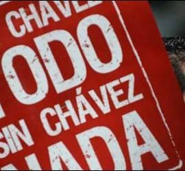 Cartel de apoyo a Hugo Chávez.