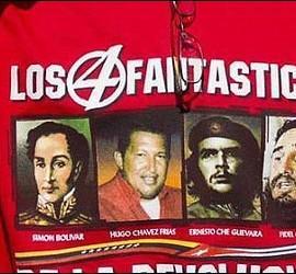 Bolivar, Chávez, Che Guevara y Fidel Castro.