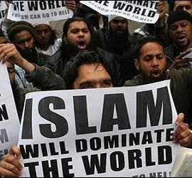 Musulmanes, Islam y manifestantes islámicos.