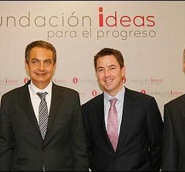 Mulas, Caldera y Zapatero en la Fundación Ideas.