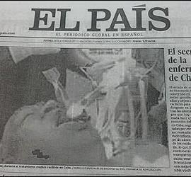 La portada de 'El País' del 24-1-2013, con la foto falsa de Hugo Chávez.