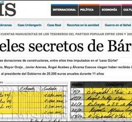 Captura de la edición digital de El País con los papeles de Bárcenas.