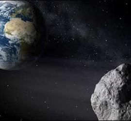 Recreación de un meteorito acercándose a la Tierra.