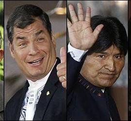 Castro, Correa, Morales y Kirchner.