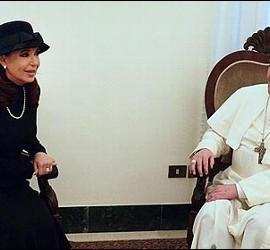 Cristina Fernandez de Kirchner con el Papa Francisco.