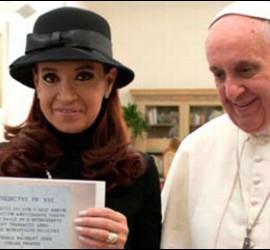 Cristina Fernández de Kirchner con el Papa Francisco.