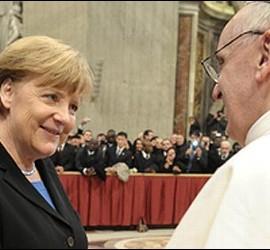 Angela Merkel con el Papa Francisco.